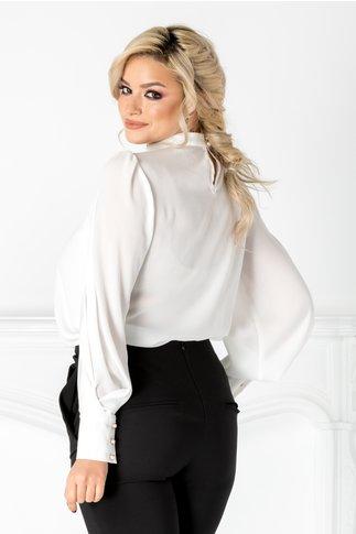 Bluza LaDonna alba cu funda maxi la umar