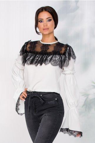 Bluza LaDonna alba cu insertii din dantela chantilly neagra la bust
