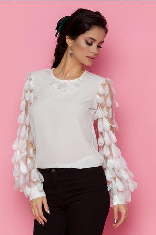 Bluza LaDonna alba cu maneci lungi din tull cu aplicatii 3D tip petale