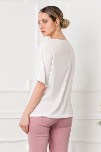 Bluza LaDonna alba din voal cu imagine imprimata pe fata