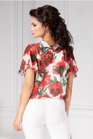 Bluza LaDonna alba vaporoasa cu trandafiri rosii