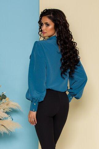 Bluza LaDonna albastru petrol cu detaliu stil esarfa la guler si nasturi decorativi tip bijuterie
