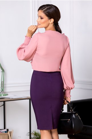 Bluza LaDonna Aria roz cu volanase si cordon la decolteu