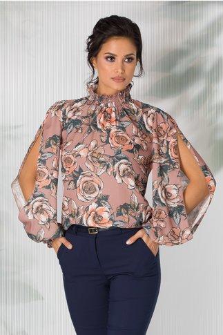 Bluza LaDonna bej cu imprimeu floral si maneci decupate si guler cret