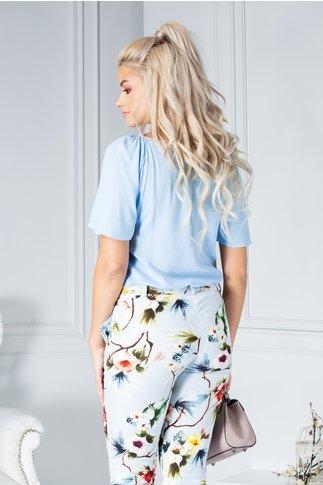 Bluza LaDonna bleu cu flori 3D la bust