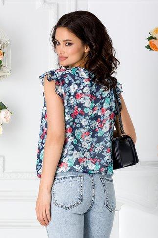 Bluza LaDonna bleumarin vaporoasa cu imprimeu floral