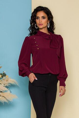 Bluza LaDonna bordo cu detaliu stil esarfa la guler si nasturi decorativi tip bijuterie
