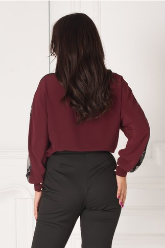 Bluza LaDonna bordo in croi lejer cu insertii din dantela si animal print