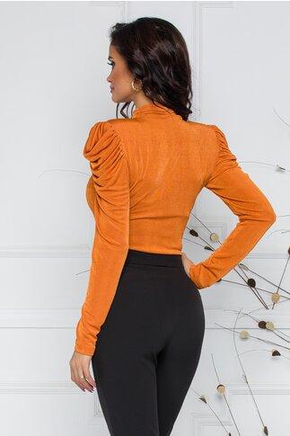 Bluza LaDonna by Catalin Botezatu orange cu umeri intariti si design cu incretituri