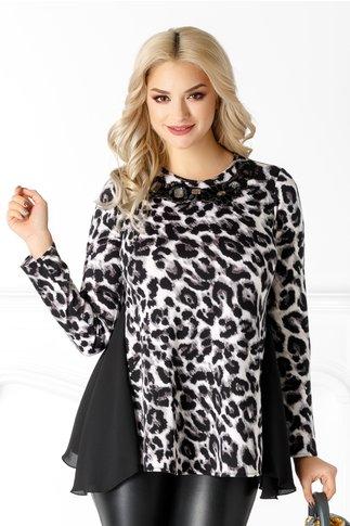 Bluza LaDonna cu animal print negru-gri si broderie