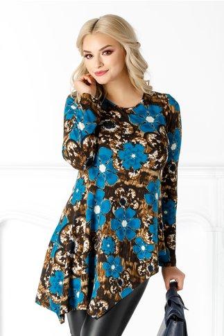 Bluza LaDonna cu imprimeu floral albastru si maro