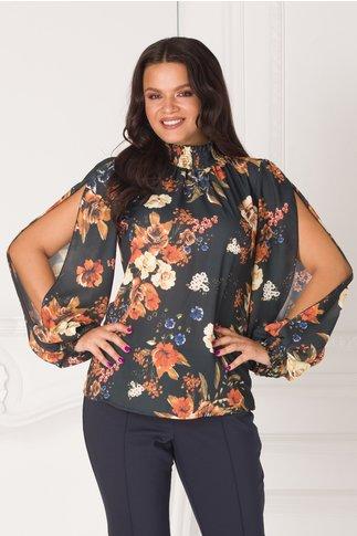 Bluza LaDonna cu imprimeu floral si maneci decupate si guler cret