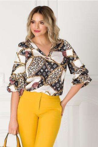 Bluza LaDonna cu imprimeu negru si animal print