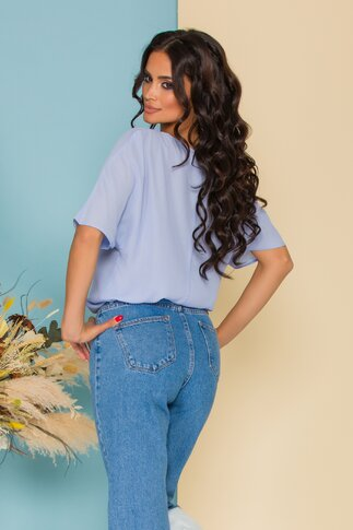 Bluza LaDonna din voal bleu cu imagine imprimata pe fata