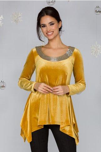 Bluza LaDonna galben mustar din catifea cu margele cusute la baza gatului
