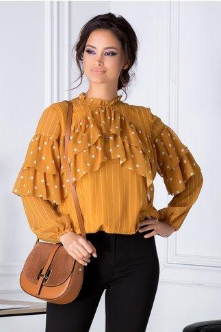 Bluza LaDonna galben mustar vaporoasa cu dungi si buline