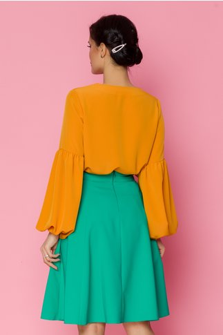 Bluza LaDonna galben-mustar vaporoasa cu snur la gat si maneci lungi