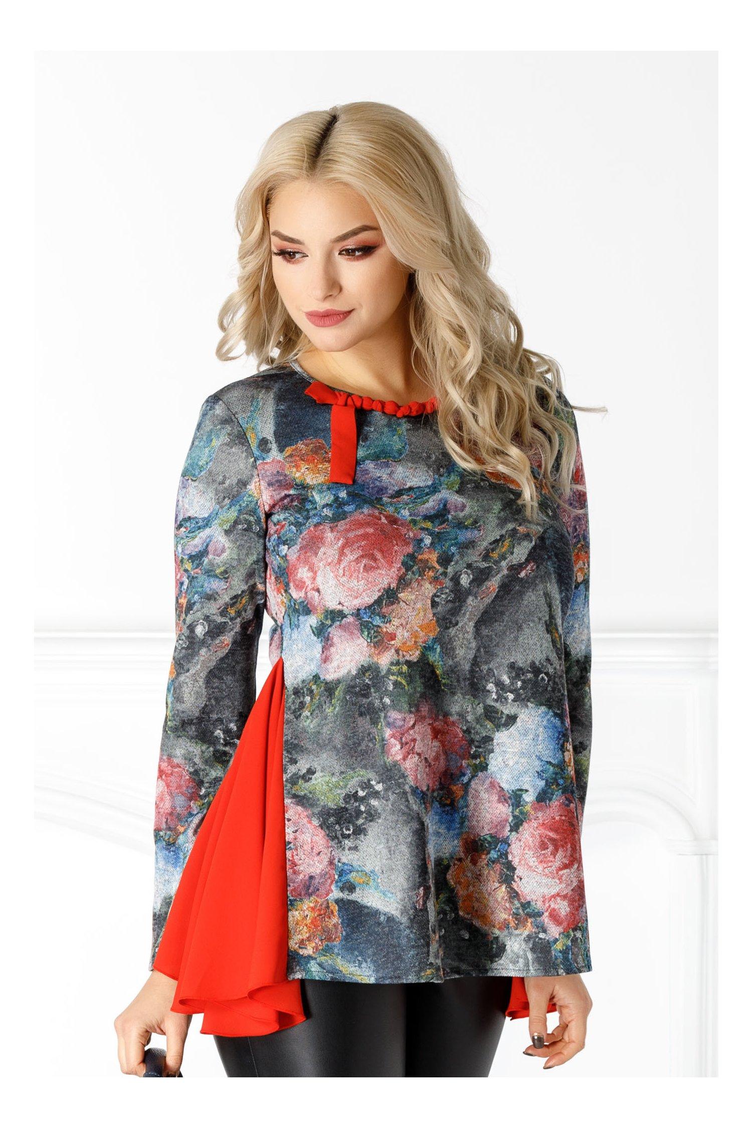Bluza LaDonna gri cu imprimeu floral