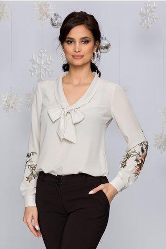 Bluza LaDonna ivoire eleganta cu broderie florala pe maneci