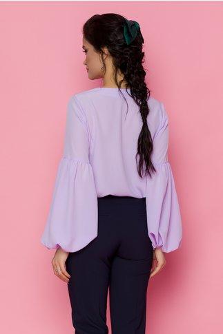 Bluza LaDonna lila vaporoasa cu snur la gat si maneci lungi
