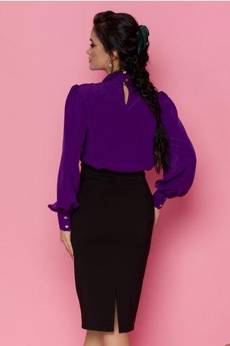 Bluza LaDonna mov cu detaliu stil esarfa la guler si nasturi decorativi tip bijuterie
