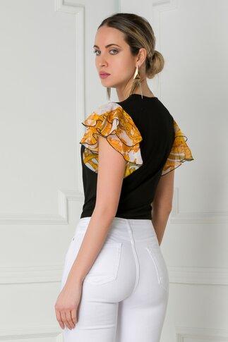 Bluza LaDonna neagra cu insertii din voal alb imprimat