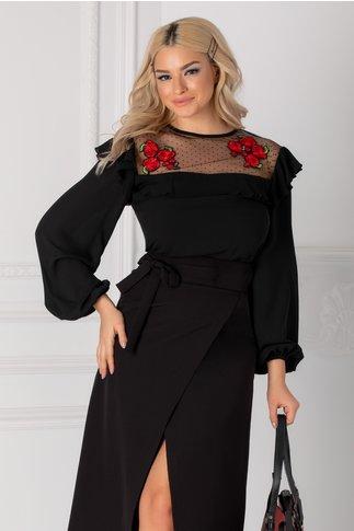 Bluza LaDonna neagra cu tull si broderie florala rosie la bust