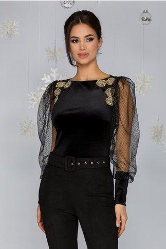 Bluza LaDonna neagra din catifea cu accente din tull cu lurex si broderie florala aplicata in zona bustului