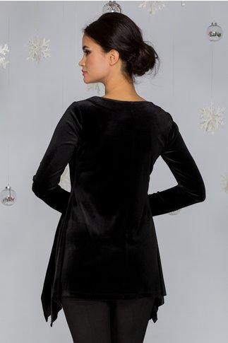 Bluza LaDonna neagra din catifea cu margele cusute la baza gatului