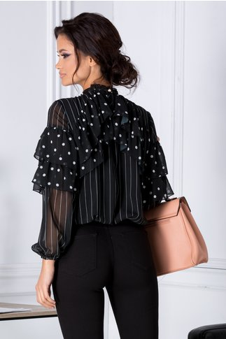 Bluza LaDonna neagra vaporoasa cu dungi si buline