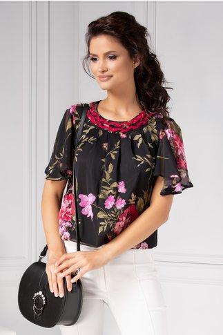 Bluza LaDonna neagra vaporoasa cu imprimeu floral