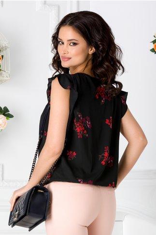 Bluza LaDonna neagra vaporoasa cu imprimeu floral colorat