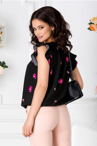 Bluza LaDonna neagra vaporoasa cu imprimeu floral fucsia