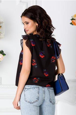 Bluza LaDonna neagra vaporoasa cu imprimeu floral orange