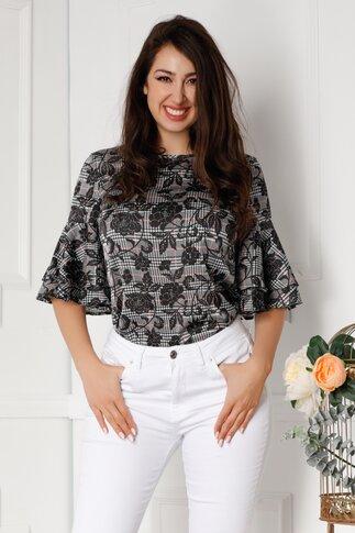 Bluza LaDonna negru cu alb si trandafiri