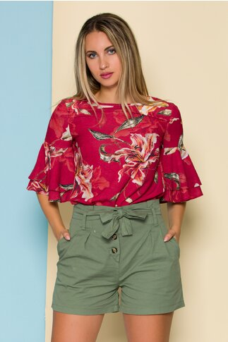 Bluza LaDonna rosie cu imprimeuri florale