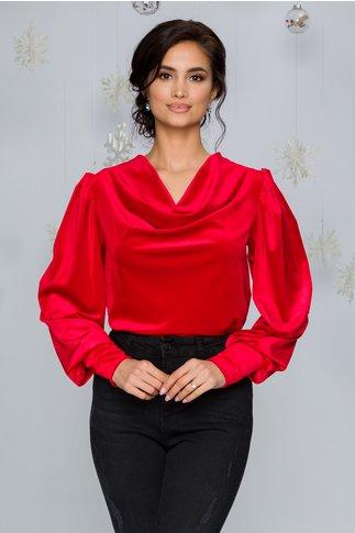 Bluza LaDonna rosie din catifea cu incretituri la umeri si guler lasat