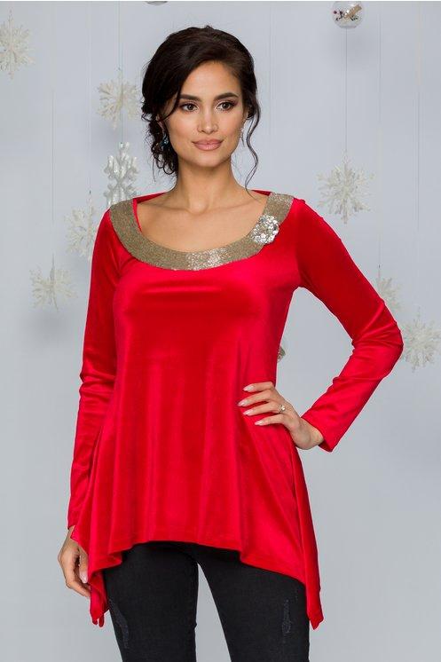 Bluza LaDonna rosie din catifea cu margele cusute la baza gatului