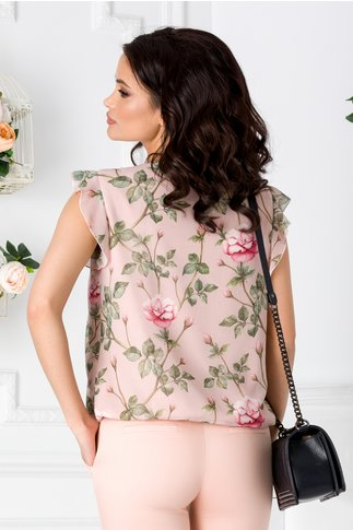 Bluza LaDonna roz prafuit vaporoasa cu imprimeu floral