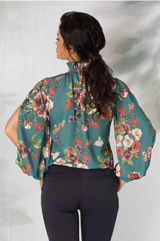 Bluza LaDonna turcoaz cu imprimeu floral si maneci decupate si guler cret
