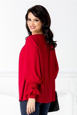 Bluza LaDonna vaporoasa bordo cu flori 3D la guler