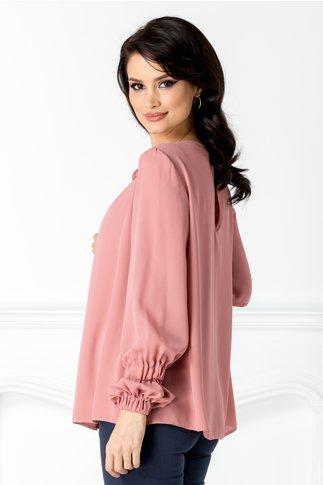 Bluza LaDonna vaporoasa roz cu flori 3D la guler