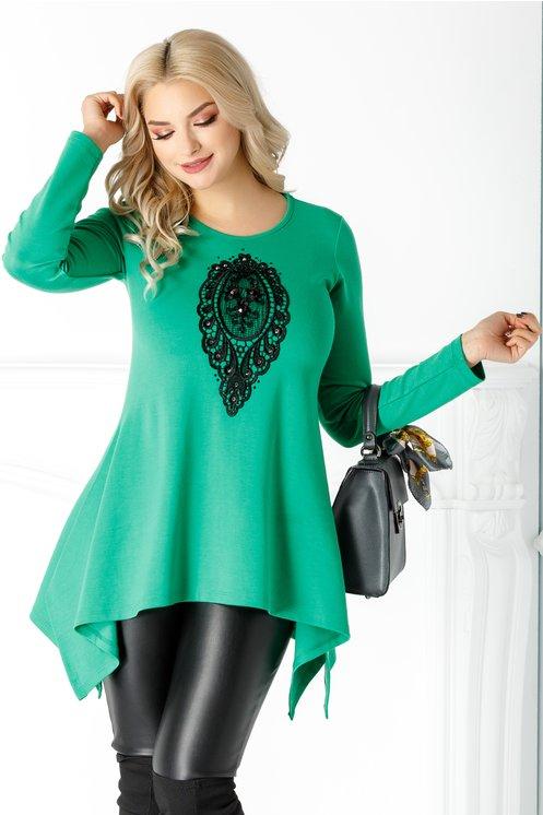 Bluza LaDonna verde cu broderie la bust