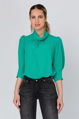 Bluza LaDonna verde cu perlute la guler