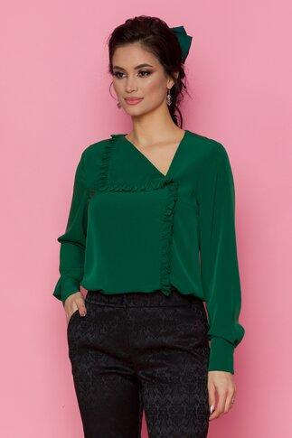 Bluza LaDonna verde cu volan pe o parte