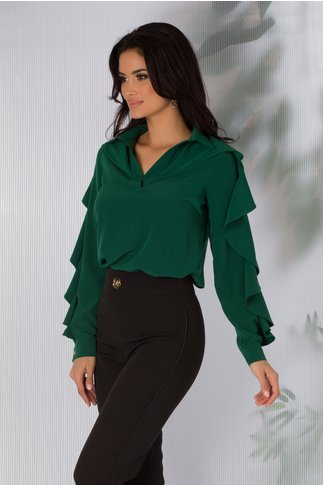 Bluza LaDonna verde cu volanase pe maneci