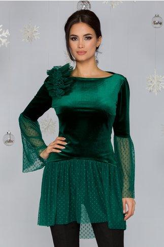 Bluza LaDonna verde din catifea cu accente din dantela si aplicatie din tull in zona bustului