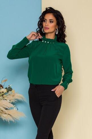 Bluza LaDonna verde inchis cu guler inalt accesorizat cu perle
