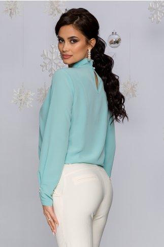Bluza LaDonna verde mint cu guler inalt accesorizat cu perle
