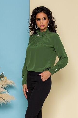 Bluza LaDonna verde olive cu guler inalt accesorizat cu perle